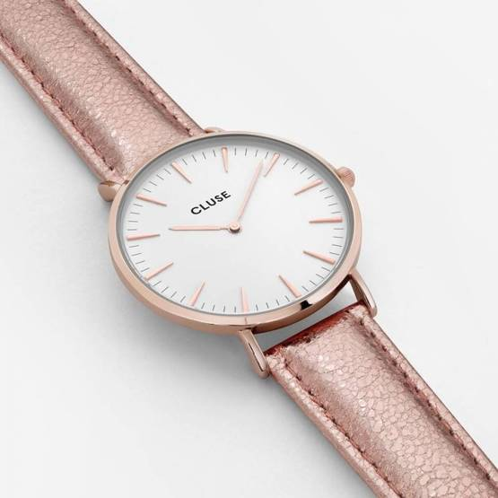 CLUSE-La-Bohème-rose-gold-white-rose-gold-metallic-CL18030 viistosta - Cluse naisten rannekellot - CL18030 - 2