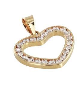 Kultainen sydänriipus zirkoneilla 17-R3185 - Kultaiset riipukset - 17-R3185  - 1 bb82e3f76d