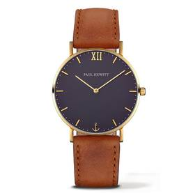 PAUL HEWITT Sailor Line Watch Gold Blue Lagoon Leather Nubuk Brown - Paul Hewitt naisten rannekellot - PH-SA-G-St-B-1M - 1