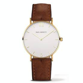 PAUL HEWITT Sailor Line Watch Gold White Sand Leather Heritage Brown - Paul Hewitt miesten rannekellot - PH-SA-G-St-W-3M - 1
