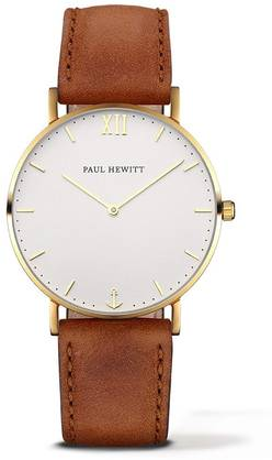 PAUL HEWITT Sailor Line Watch Gold White Sand Leather Nubuk Brown PH-SA-G-St-W-1M - Paul Hewitt miesten rannekellot - PH-SA-G-St-W-1M - 1