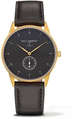 PAUL HEWITT Signature Line Watch Nautical Gold MARK I Black Sea Leather Classic Black - Paul Hewitt miesten rannekellot - PH-M1-G-B-2M - 1