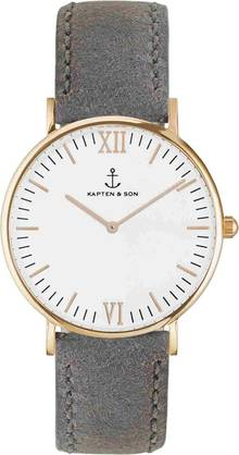 Kapten & Son CAMPINA Black Grey Vintage Leather Rose - Kapten & Son rannekellot - KS-R-36-W-16R - 1