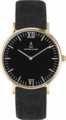 Kapten & Son Campina All Black Vintage Rose - Kapten & Son rannekellot - KS-R-36-B-18R - 1