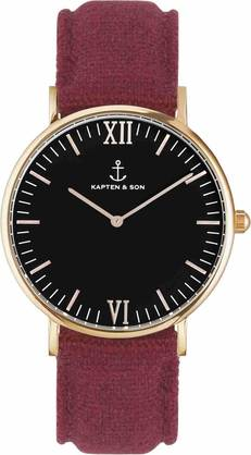Kapten & Son Campina Black Bordeaux Canvas KS-R-36-B-28R - Kapten & Son rannekellot - KS-R-36-B-28R - 1