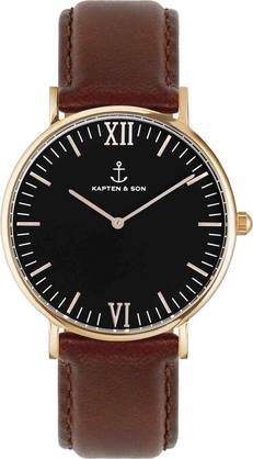Kapten & Son Campina Black Brown Leather Rose KS-R-36-B-17-R - Kapten & Son rannekellot - KS-R-36-B-17-R - 1