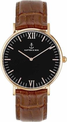 Kapten & Son Campina Black Brown Croco Leather Rose KS-R-36-B-19R - Kapten & Son rannekellot - KS-R-36-B-19R - 1