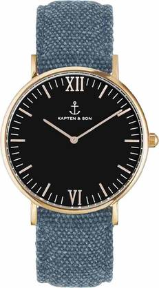 Kapten & Son Campina Black Blue Canvas Rose KS-R-36-B-24S - Kapten & Son rannekellot - KS-R-36-B-24S - 1