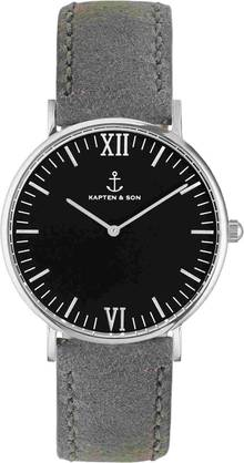 Kapten & Son Campina Black Grey Vintage Leather Silver KS-S-36-B-16S - Kapten & Son rannekellot - KS-S-36-B-16S - 1