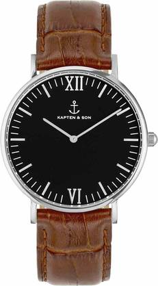 Kapten & Son Campina Brown Croco Leather Silver KS-S-36-B-19S - Kapten & Son rannekellot - KS-S-36-B-19S - 1