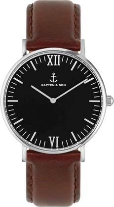 Kapten & Son Campina Black Brown Leather Silver KS-S-36-B-17-S - Kapten & Son rannekellot - KS-S-36-B-17-S - 1