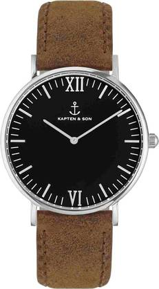 Kapten & Son Campina Black Brown Vintage Leather Silver KS-S-36-B-17S - Kapten & Son rannekellot - KS-S-36-B-17S - 1