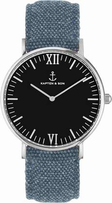 Kapten & Son Campina Black Blue Canvas KS-S-36-B-24S - Kapten & Son rannekellot - KS-S-36-B-24S - 1