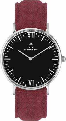 Kapten & Son Campina Black Bordeaux Canvas KS-S-36-B-28S - Kapten & Son rannekellot - KS-S-36-B-28S - 1