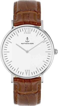 Kapten & Son Campina Brown Croco Leather Silver  - Kapten & Son rannekellot - KS-S-36-W-19S - 1
